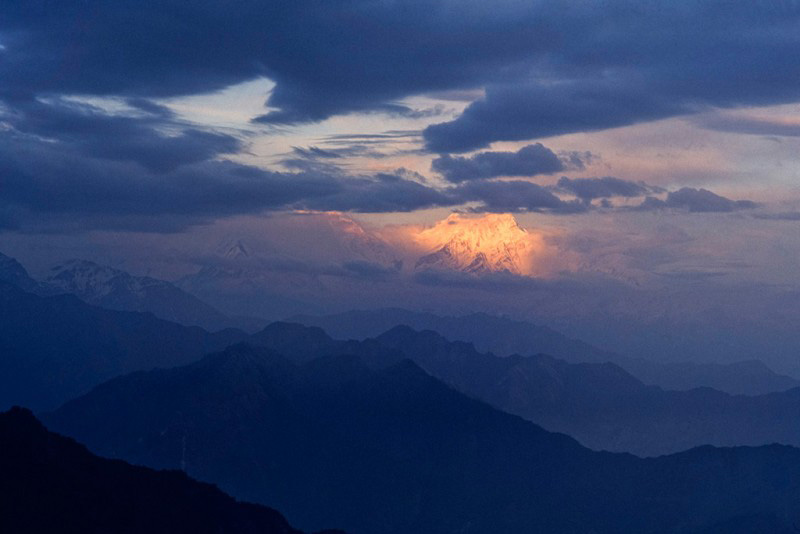Le Dhaulagiri, 8167 mètres, vu du Jalja la, Népal, 1996